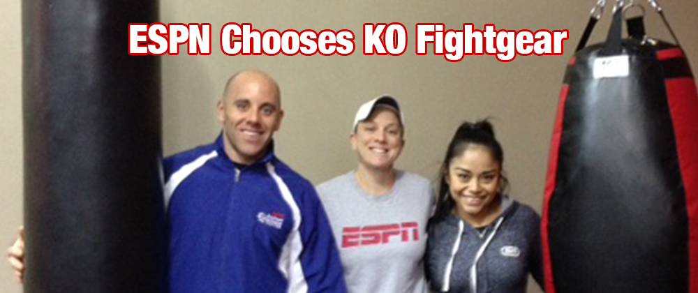ESPN Personal Training Team Posing with KO Fightgear Heavy Bag and Tear Drop Bag
