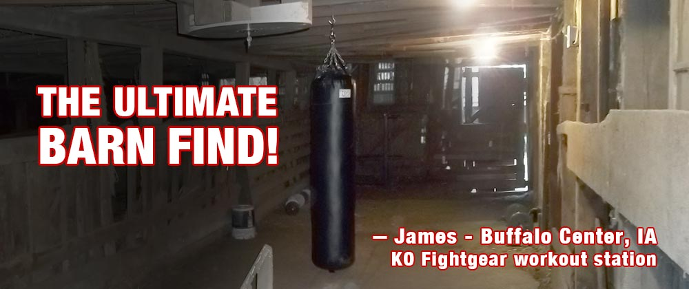 EThe Ultimate Barn Find KO Fightgear Muay Thai Heavy Bag hanging a barn.