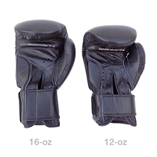 12 oz and 16 oz Sparring Gloves - Back view size comparison